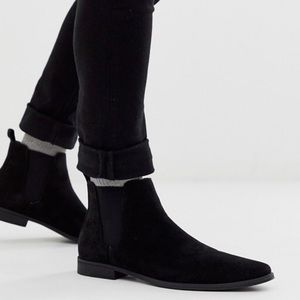 ASOS DESIGN chelsea boots in black faux suede